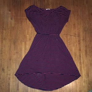 Soprano xs red striped high low knit dress